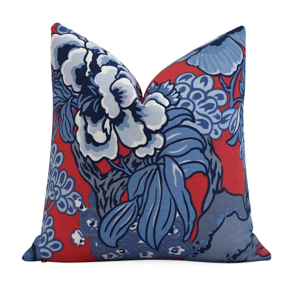 Thibaut Honshu Red and Blue Floral Decorative Designer Throw Pillow Cover