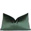 Velluto Dark Green Velvet Lumbar Throw Pillow Cover with Gold Zipper