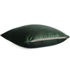 Velluto Dark Green Velvet Throw Pillow Cover with Gold Zipper