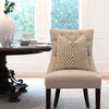 Schumacher Vanderbilt Greige Velvet Designer Pillow Cover on Accent Chair