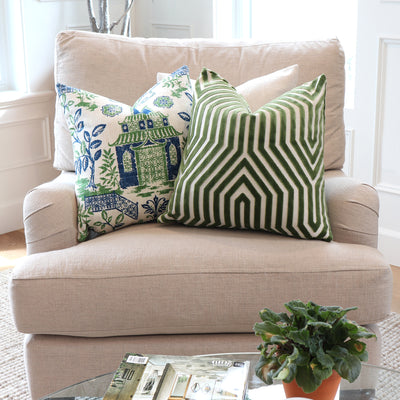 Vanderbilt Lettuce Velvet Pillow Cover with Matching Green Pillows