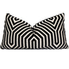 Schumacher Vanderbilt Noir Velvet Designer Lumbar Throw Pillow Cover