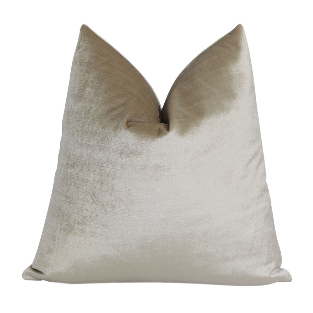 Velluto Champagne Beige Velvet Throw Pillow Cover