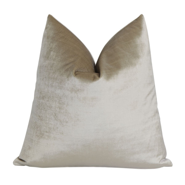 Velluto Beige Velvet Designer Throw Pillow Cover