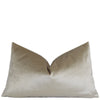 Velluto Champagne Beige Velvet Lumbar Throw Pillow Cover