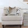 Velluto Champagne Beige Velvet Throw Pillow Cover on Accent Chair