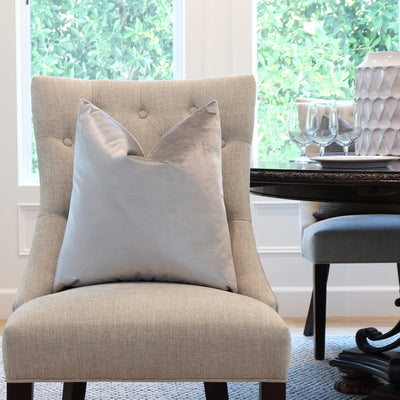 Velluto Silver Velvet Designer Pillow Cover on Accent Chair