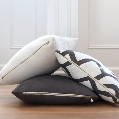 Zimba Charcoal Pillow Cover with Exposed Brass Zipper