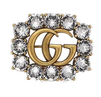 Broche Gucci Double G Crystal