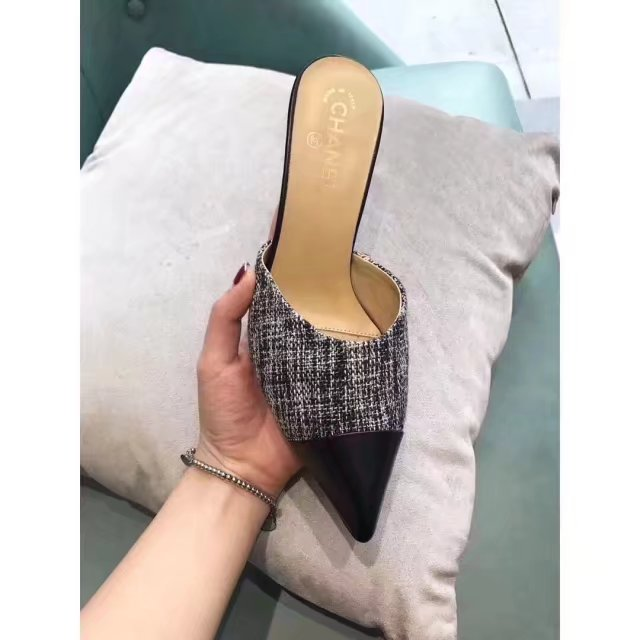 Scarpin mule Chanel pérola Fabric & Goatskin - Loja Must Have