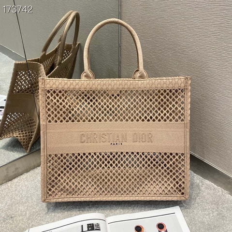 Bolsa Book Tote Bordada Christian Dior Clay-Colored Mesh Embroidery