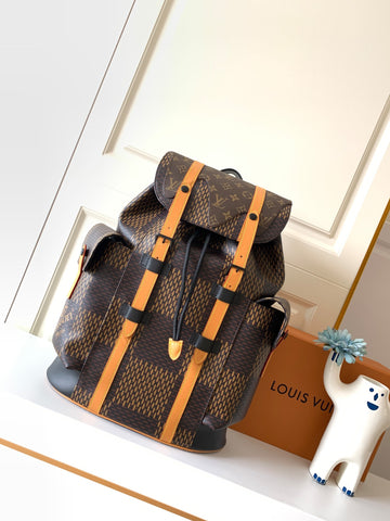 Mochila Louis Vuitton Christopher canvas Giant Damier Ébène