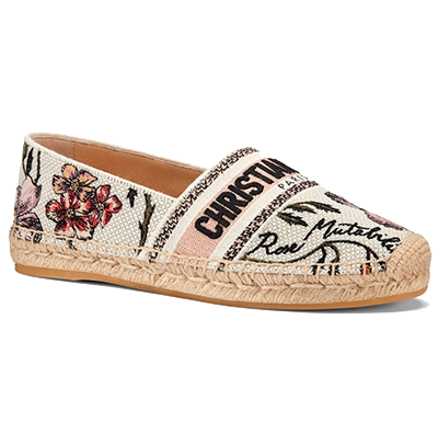Espadrille/Alpargata Dior Granville In Rosa Mutabilis Embroidered Cotton