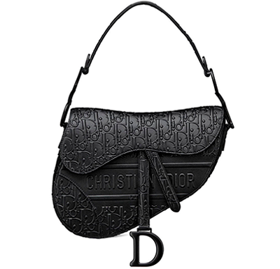 Bolsa Saddle Christian Dior Black Oblique Embossed Calfskin