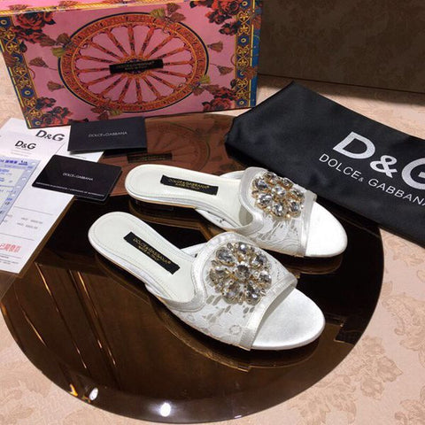 Slipper Renda e Cristais Dolce & Gabbana
