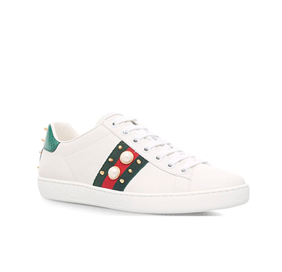 Tênis Gucci Ace Leather Studded Pérola Sneaker - Loja Must Have