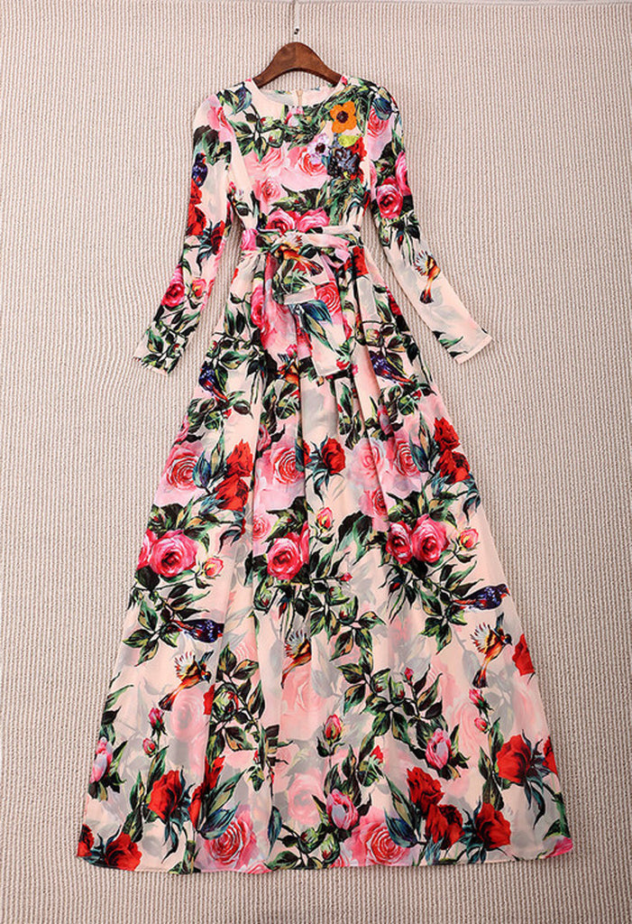 Vestido D&G Rose-Print Gown Dolce&Gabbana Inspired - Loja Must Have
