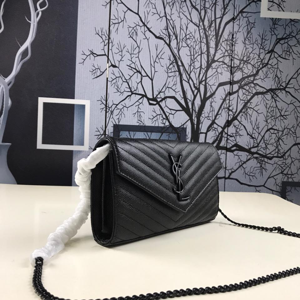 Bolsa Clutch YSL Saint Laurent Wallet on Chain - Loja Must Have