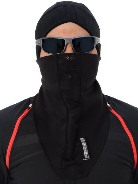 black balaclava - a sports face mask for winter sports like running, cycling, motorcycling etc.