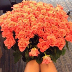 large bouquet of orange roses