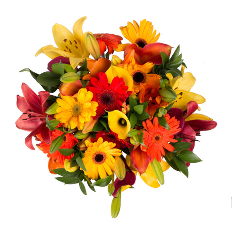 Fall Explosion Bouquet with Burlap - 31 Stems