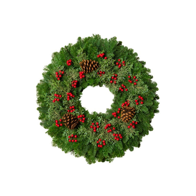 Christmas Berry Wreath 24""