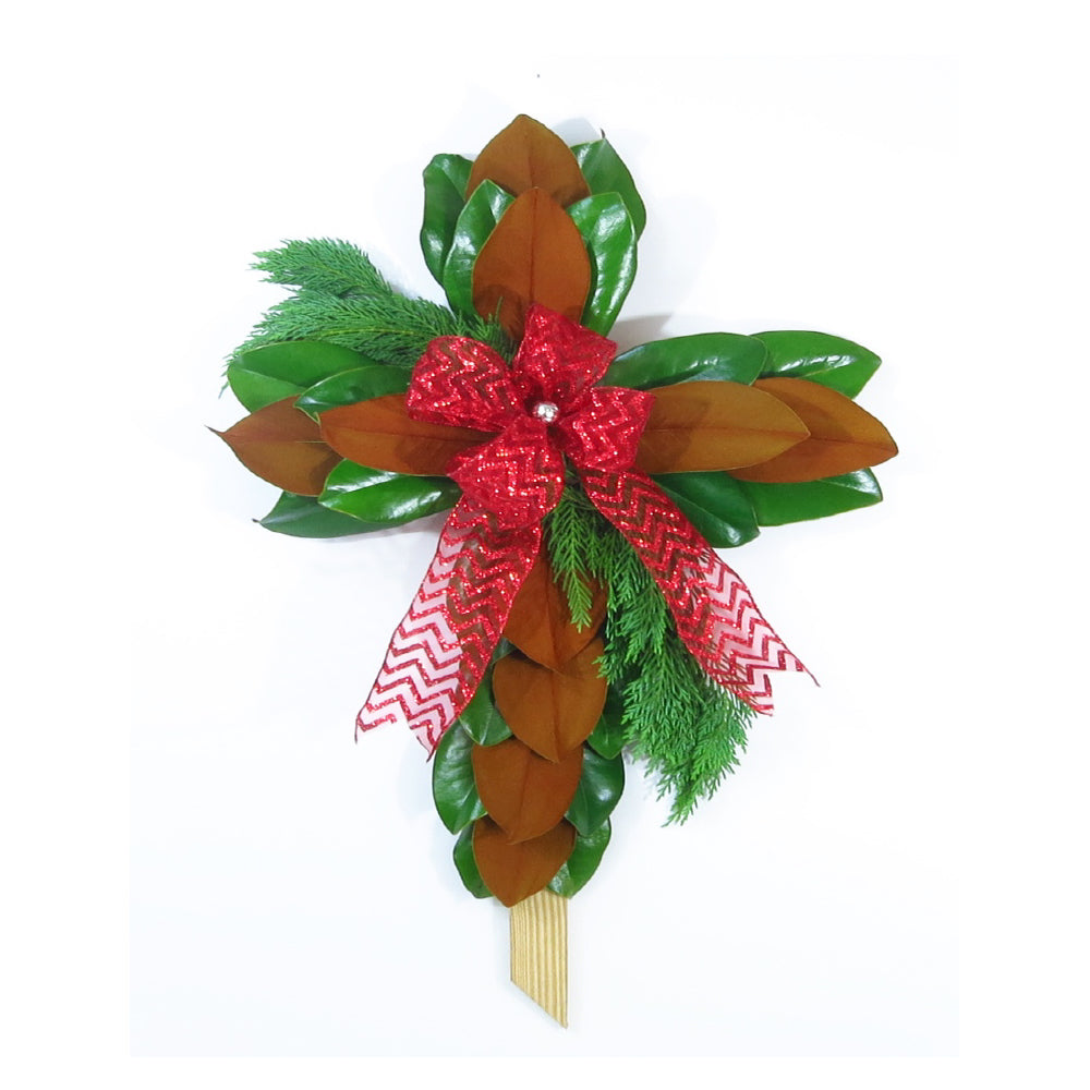 Christmas Magnolia Cross, 2 Pack