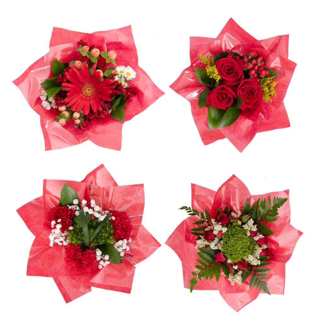 Mini Floral Bouqueto Red - pack 4