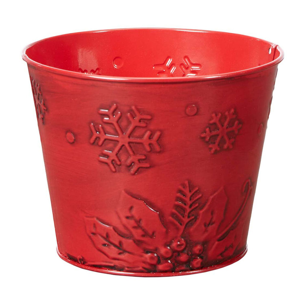 "OASIS Poinsettia Tin Pot - Red, 5-1/2"" - 12 per case"