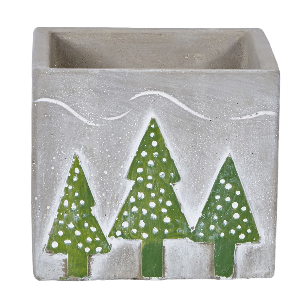 "OASIS Ceramic Tree Cube - Gray, 4-1/2"" - 6 per case"