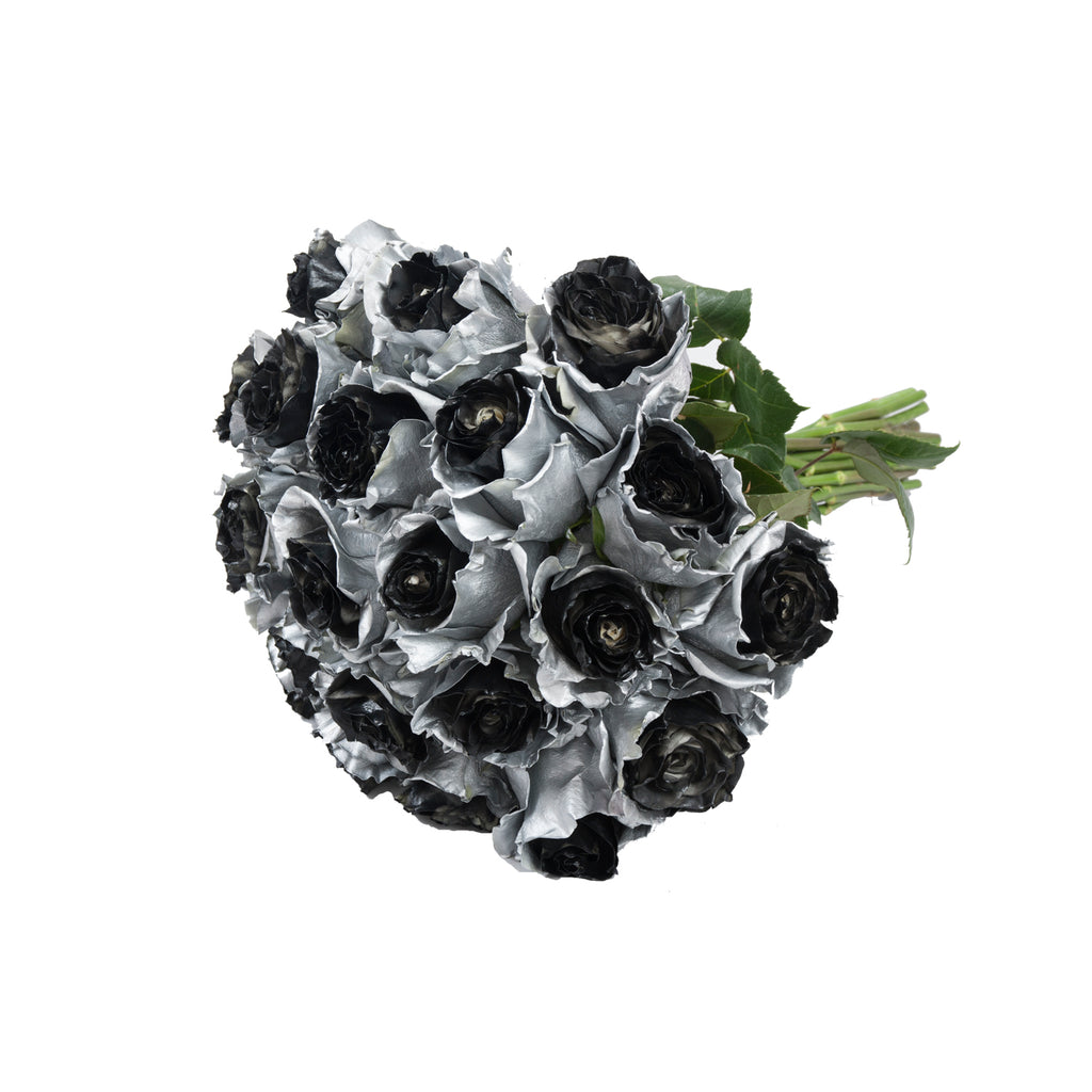 Marshmallow Silver & Black Painted Roses
