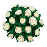 Marshmallow White & Green Painted Roses