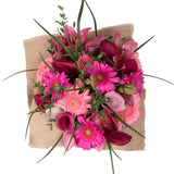Pink Emma Bouquet with Burlap - 4 Pack