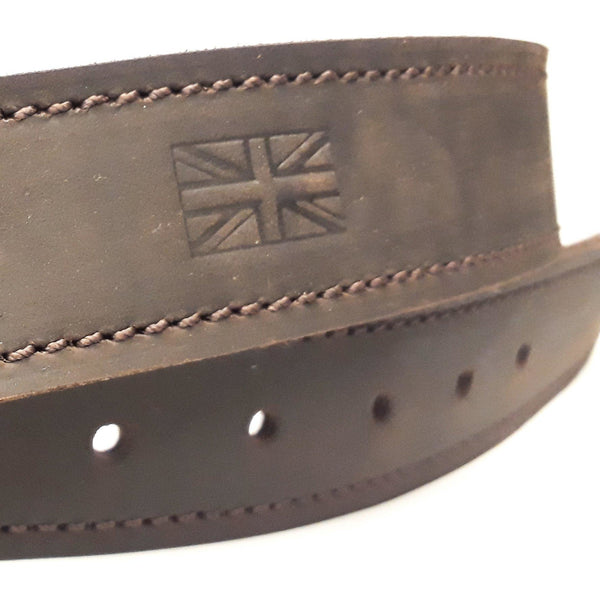 Embossed union jack on leather belt