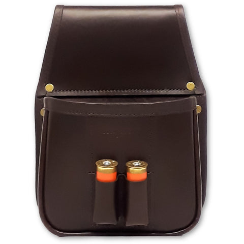 shotgun cartridge pouch dark brown leather front view