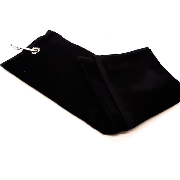 Shooting Towel Black 100% Cotton Tri-Fold with Belt loop and Carabiner