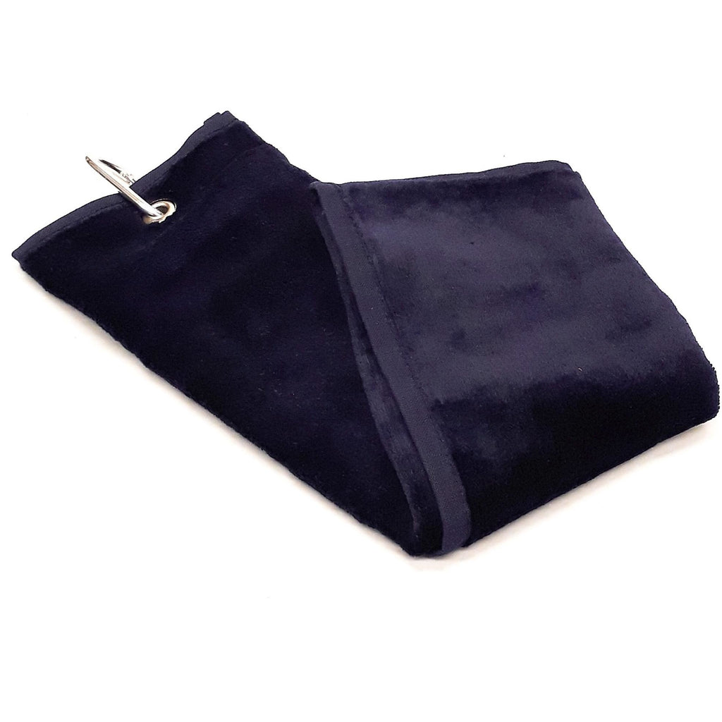 Shooting Towel Navy 100% Cotton Tri-Fold with Belt loop and Carabiner