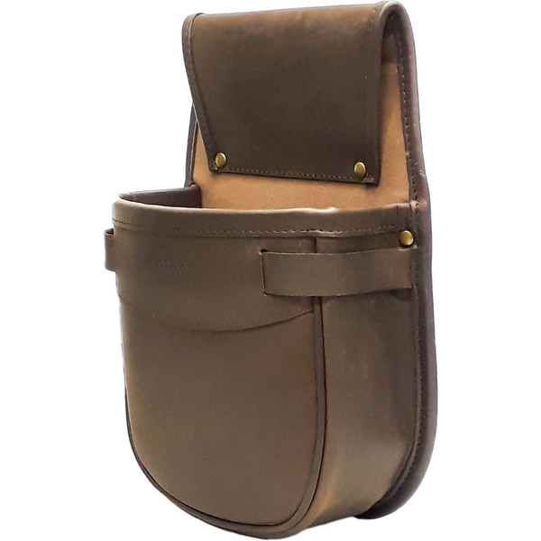 left hand view cartridge pouch shotgun brown oiled leather