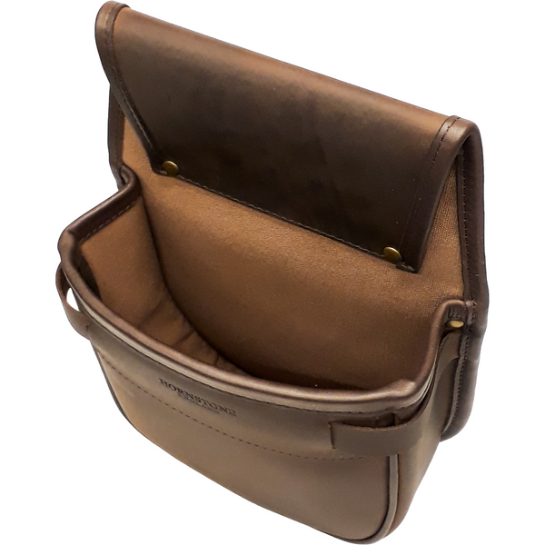 shotgun cartridge bag inside view brown leather