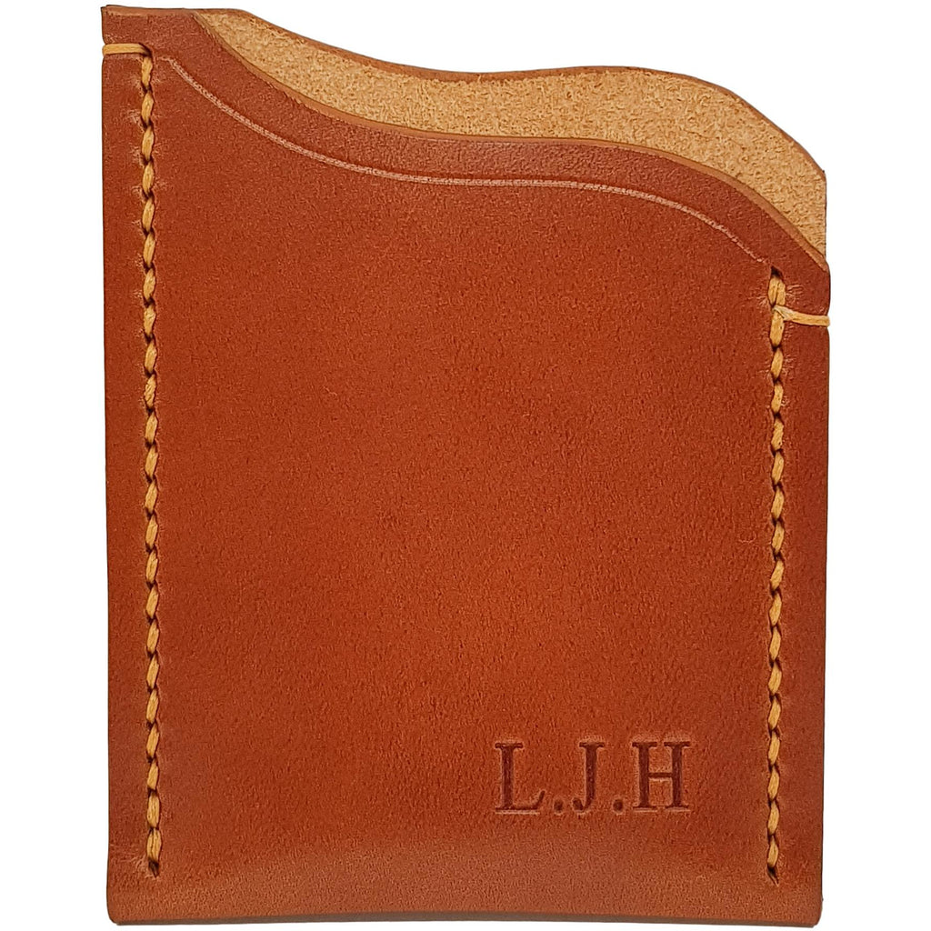 Leather Card Holder Wallet Saddle Tan Veg Tan Leather