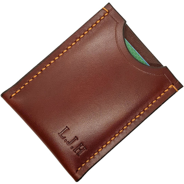 Leather Card Holder Wallet Chestnut Veg Tan Leather