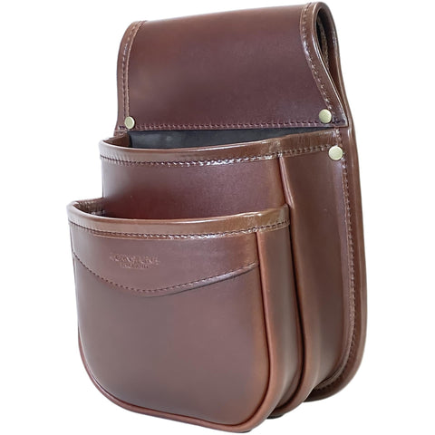 Double Pocket Shotgun Cartridge Pouch Chestnut Brown Leather. RGB/DP