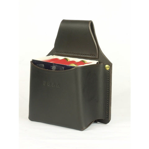 Shotgun Cartridge Box Holder Dark Brown Leather