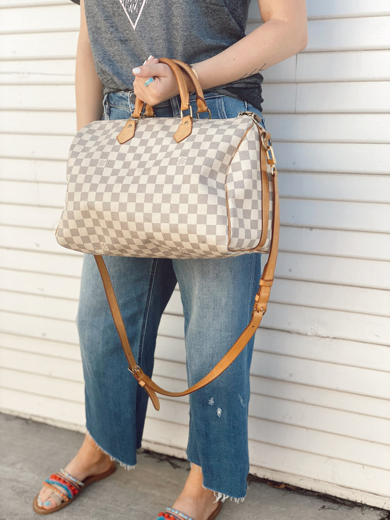 Preowned LV Speedy Bandouliere 35 : Damier Azur