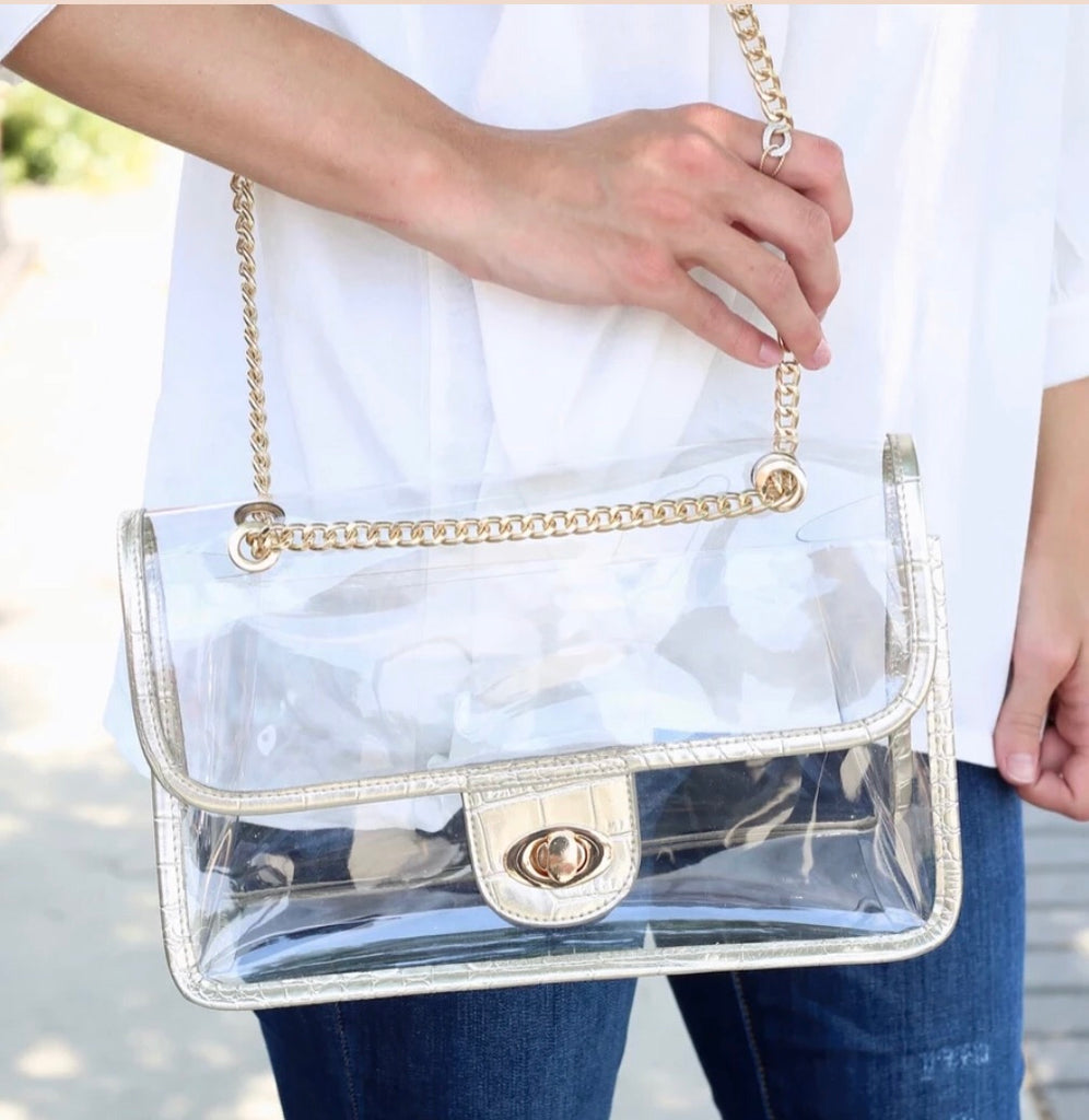 Clear Stadium Bag Gold