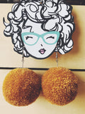 Mustard Pom Pom Earrings