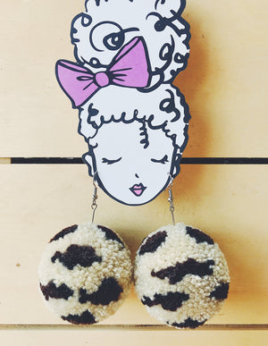 Tan Leopard Pom Pom Earrings