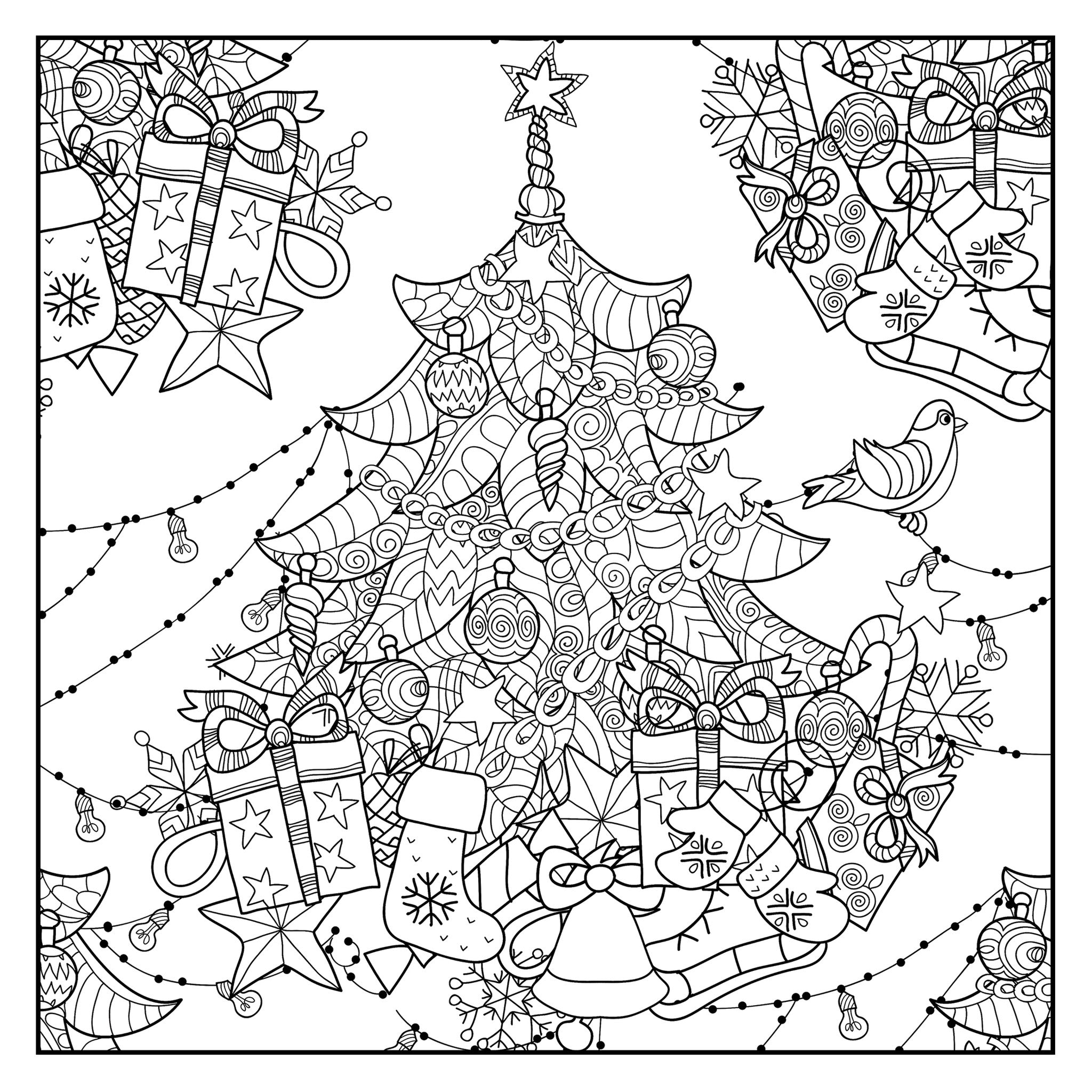Christmas Themed Adult Coloring Book With Christmas CD - Color With ...