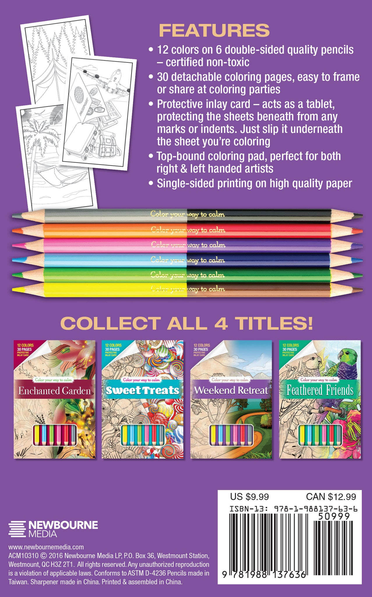 WEEKEND RETREAT Adult Coloring Book Includes 12 Colored Pencils Travel Size