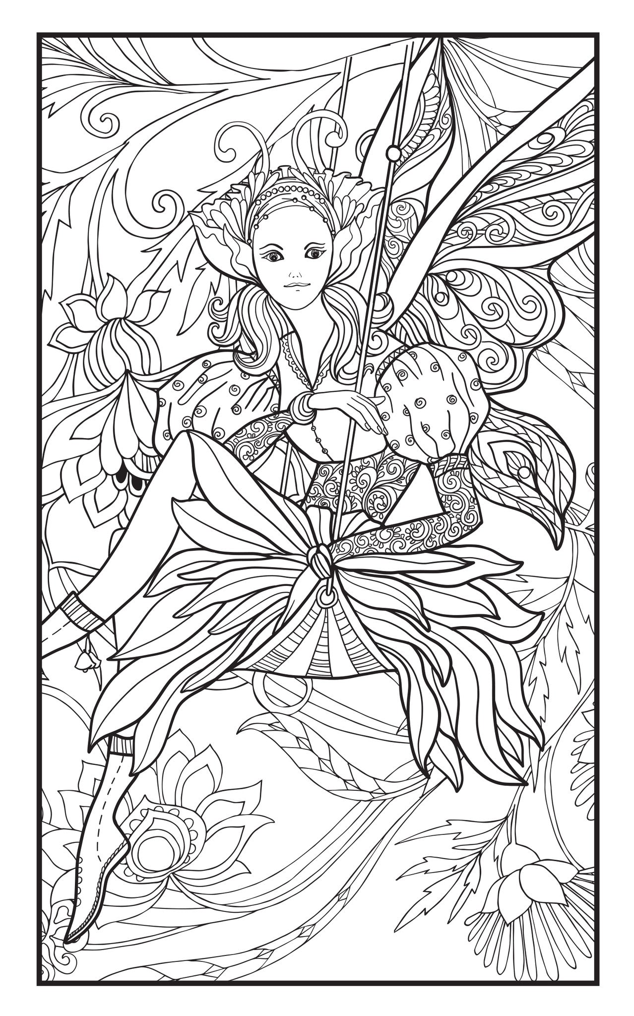 ENCHANTED GARDEN Adult Coloring Book Includes 12 Colored Pencils Travel Size